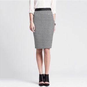 Banana Republic B&W Star Jacquard Pencil Skirt
